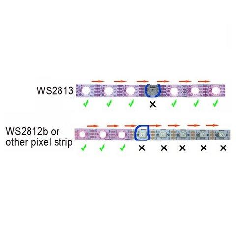 Tira de luces LED RGB SMD5050, WS2813 (con controles, negra, IP67, 5 V, 144 diodos LED/m, 1 m) - Vista prévia 3